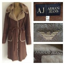Armani Jeans Size 10 Shearling Sheepskin Faux Fur Long Coat Size U.K. 10 Brown