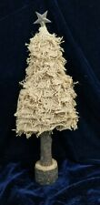 18 inch rustic Christmas tree burlap bough wood base stand metal topped star
