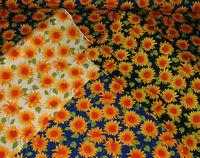 Sunflowers Floral 100% Cotton Poplin Fabric Rose & Hubble Material Craft Dress