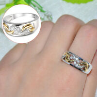 Größe 7-9 Weiß Zirkonia Versilbert Ehering Ring Silber Vergoldet Ringe tp