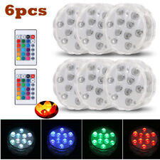 6x Submersible Multicolor LED Lights Remote Control Waterproof for Aquarium Pool