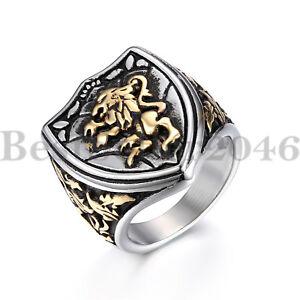 Lion King Mens Stainless Steel Biker Rocker Gothic Vintage Ring Band Size 7-13