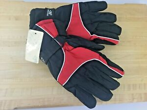 Black with Red Waterproof Winter Gloves Mens Size M