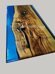 Epoxy Dining Resin River Luxury Blue Dining Table Top Acacia Living Table Décors