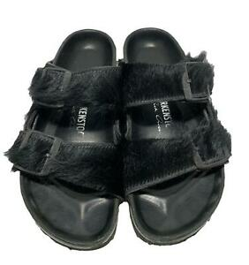 RICK OWENS x BIRKENSTOCK 'ARIZONA' LONG HAIR SANDALS, 36, $450