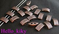 70Pcs Antiqued copper plt 2 hole carved spacer beads A33