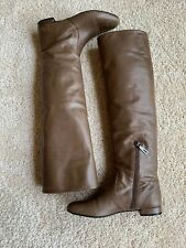 Prada Over The Knee Brown Leather Boots 37.5