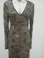 Next Tall Lined  Plunge Neckline Bodycon Fitted Stretch Lace  Dress Size 12 New