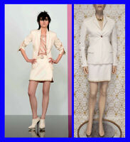 Resort 2013 look #1 NEW VERSACE OFF WHITE COTTON SKIRT SUIT 38 - 2