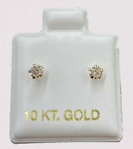 REAL 10kt Gold Stud Earring Mens Women kids Genuine 10k yellow gold with stone
