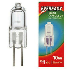 2 x EVEREADY G4 10W Halogen Capsule Bulb CLEAR 120 Lumens 12V Lamp