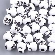 💀💀 Gorgeous 50 Acrylic White Skull Beads - 10mm - Free P&P 💀💀
