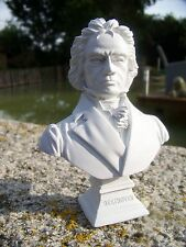 RE0110  STATUETTE REPRODUCTION  BUSTE STYLE ALBATRE MUSICIEN BEETHOVEN 10 SUR 12