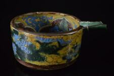 X6601: Japanese Old Kutani-ware Flower Pattern INCENSE BURNER Tea Ceremony, auto