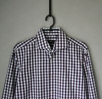 Authentic Luxury Hugo Boss Purple Checked Slim Fit Cotton Shirt Size 40 (15 ¾)