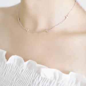 Massiver 925 Sterling Silber Mini horizontal seitwärts Multi Kreuz Anhänger Halskette