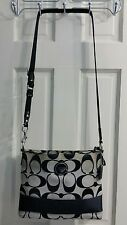 Coach Signature Stripe File Crossbody Adjustable Bag Black Satchel Purse F17435