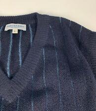 Bullock & Jones 100% Alpaca Knit Striped Sweater Vest sz L Navy Blue