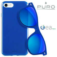 PURO Sunny Kit Custodia Plasma Cover per iPhone 7 + Occhiali da Sole UV400 BLU
