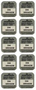 10x Murata/SONY 394 Uhren-Batterie Knopfzelle SR936SW AG9 Silberoxid V394 Neu