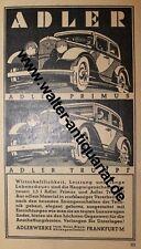 Adler Automobile Primus Trumpf Adlerwerke Frankfurt Werbeanzeige v. 1932 Reklame