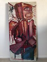 🔥 Antique Mid Century Modern Abstract Street Art Oil Painting, NYC - HUGE
