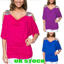 UK Plus Size Womens Cold Shoulder Tops Ladies Summer Casual Loose Shirt Blouses