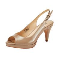 JENN ARDOR Women High Kitten Heel Sandals Shoes Peep Toe Slingback Pumps Natural