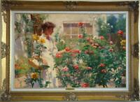 """Hand painted Old Master-Art Antique Oil Painting Flower girl on canvas 24""""x36"""""""