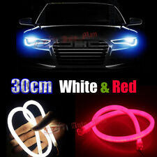 2Pcs 30cm White Red LED Bar Car Motor Headlight Angel Eyes Flexible Light Strips