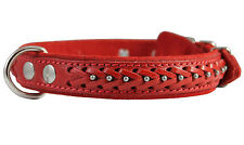 "Genuine Leather Braided Studded Dog Collar, Red 1"" Wide. Fits 14""-18"" Neck"