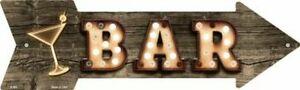 "BAR METAL ARROW NOVELTY SIGN 17""x5"" MAN CAVE SPORTSROOM GARAGE PATIO BAR"