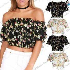 Schulterfrei Damenblusen, - tops & -shirts mit Rundhals-Ausschnitt aus Polyester