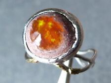 Bague argent et or fin 24 ct, 1 opale du Mexique, taille 52