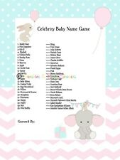 Celebrity Baby Names Baby Shower Game Cute Elephant Pink & Blue Design 20 player