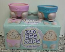 Pack of TWO Novelty Baby Egg Cups Happy Nappies New & Boxed Eggcups Funny Gift