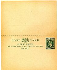 SIERRA LEONE POST CARD + REPLY CARD - HALF PENNY - UNPOSTED