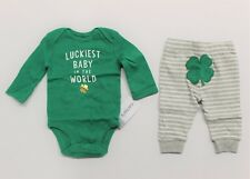 "Carter's NB Baby St. Patrick's Day ""Luckiest Baby In The World"" Bodysuit & Pant"