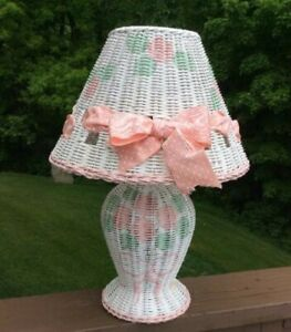 Charming Wicker Rattan Hand-Painted Table Lamp with Flowers and Bows!