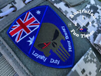 Australian Australia Flag Embroidery Sew Sewn On Patch 9.5x7 Punisher Hook &Loop