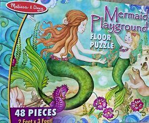 Melissa & Doug Jigsaw Puzzle 48 Piece Mermaid Ocean Fish Floor 3' x 2' Kids Girl