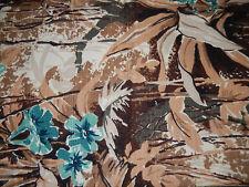 VINTAGE Fabric TROPICAL Curtain Panel FABRIC Barkcloth Turqouise Brown 41.5 X 48