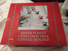 Silver Plated Christmas Tree Candle Holder Large Vtg Box Red Green Glass 12.25""