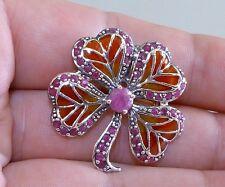 GENUINE! 1.48tcw! African Ruby & Enamel 4 Leaf Clover Brooch Solid Silver 925