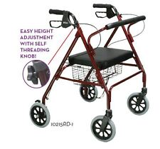 Drive Go Lite WIDE Bariatric STEEL Rollator Heavy Duty Walker 500LB by Drive RED