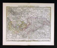 1882 Stieler Map Germany Sachsen Thuringen Benachbarte Black Forest Frankfurt