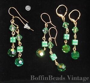 Vintage LONG dice beads EARRINGS peridot green A.Borealis sparkly crystal - GP