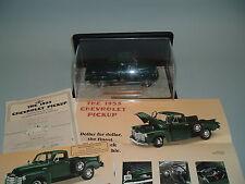 1953 CHEVROLET PICKUP TRUCK GREEN DANBURY MINT 1:24 & DISPLAY CASE