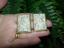 Vintage Lucite - GLITTER CONFETTI clip EARRINGS - large white w silver rectangle