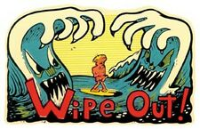 Wipe Out   Vintage style  1960's California Travel surfing Surf Sticker  Decal